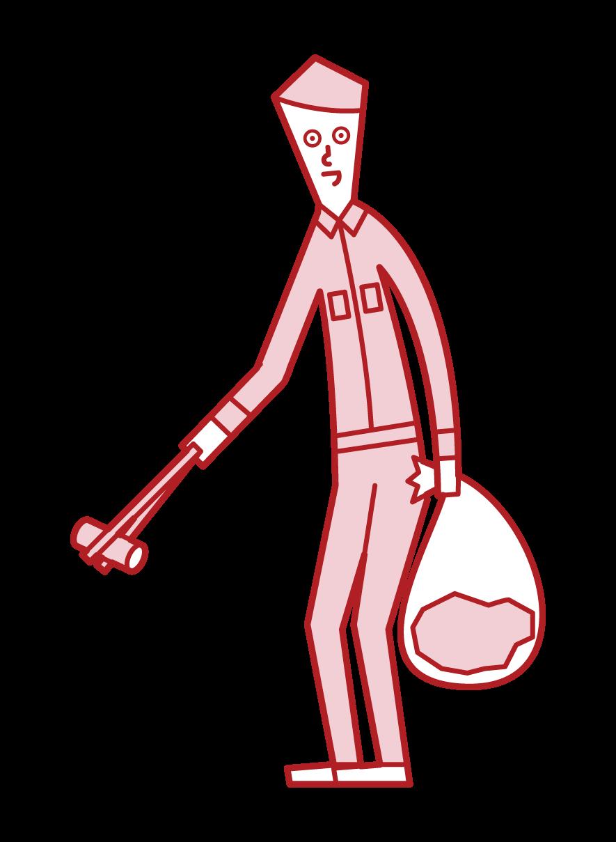 쓰레기를 줍는 사람 (남성)의 그림