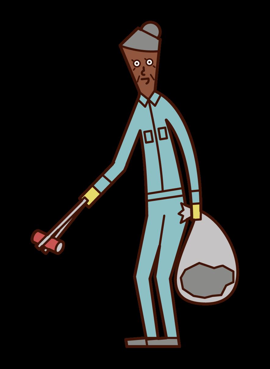 쓰레기를 줍는 사람 (할머니)의 그림