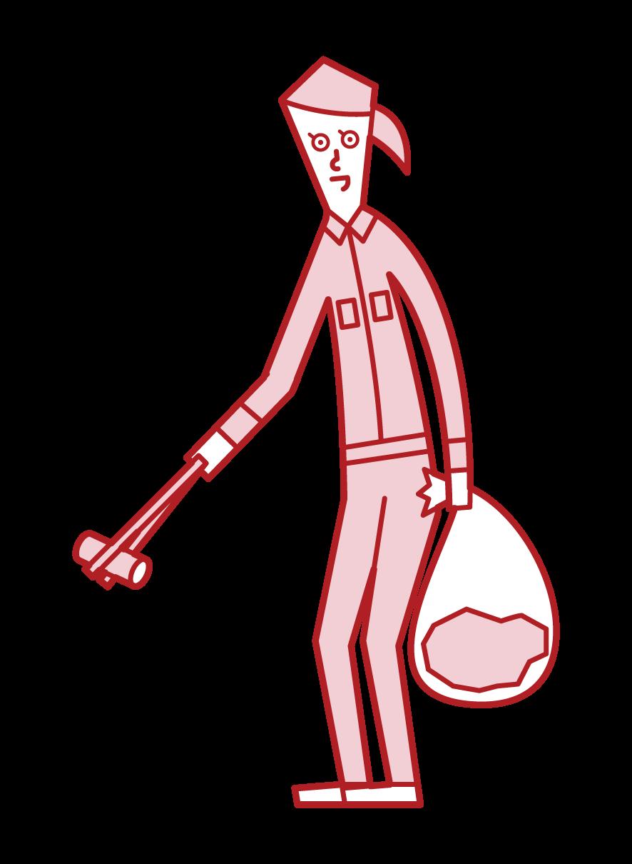 ゴミ拾いをする人(女性)のイラスト