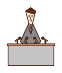 Illustration of a person (man) ing a press conference