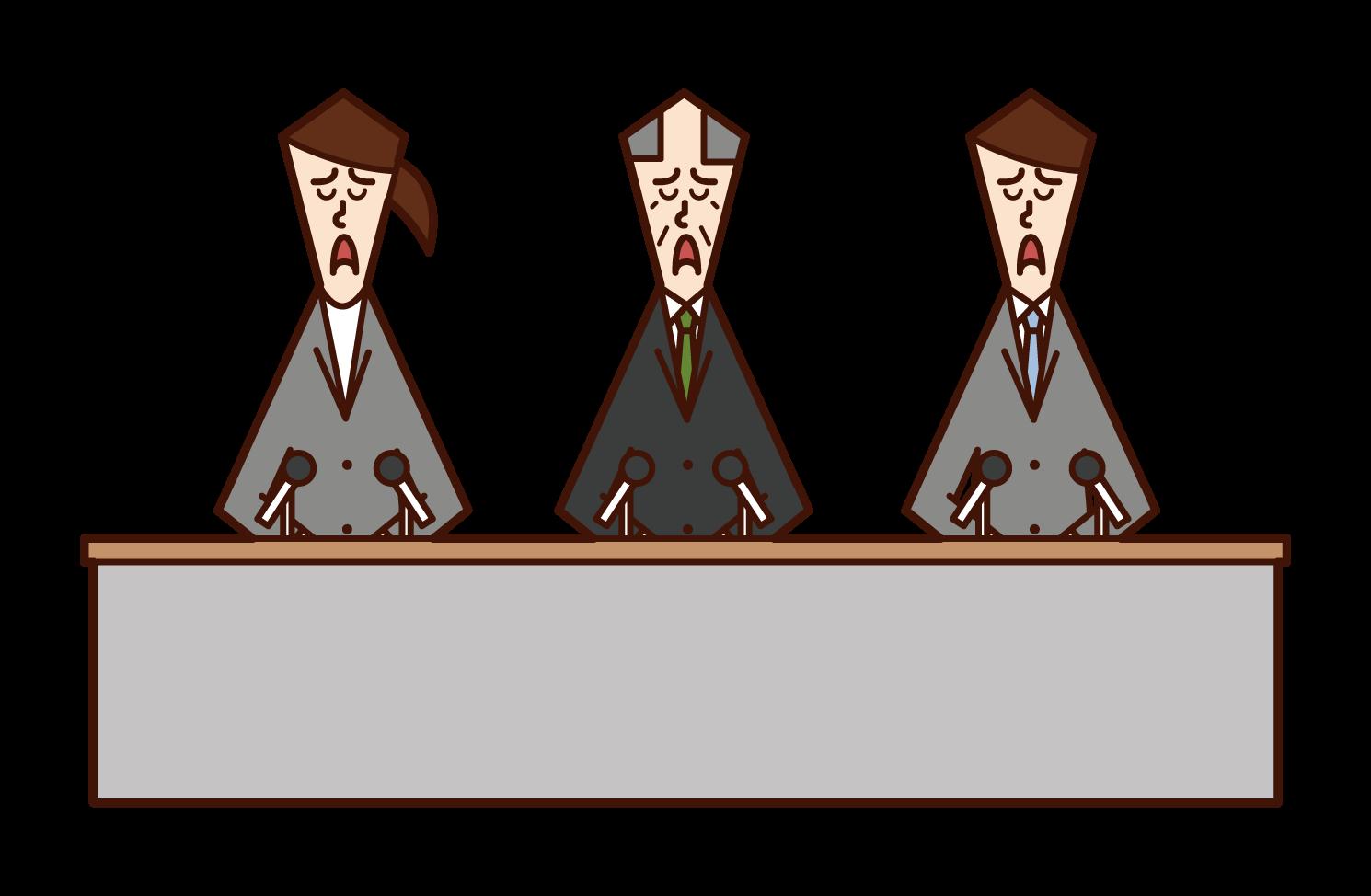 기자회견을 하는 사람(여성)의 일러스트
