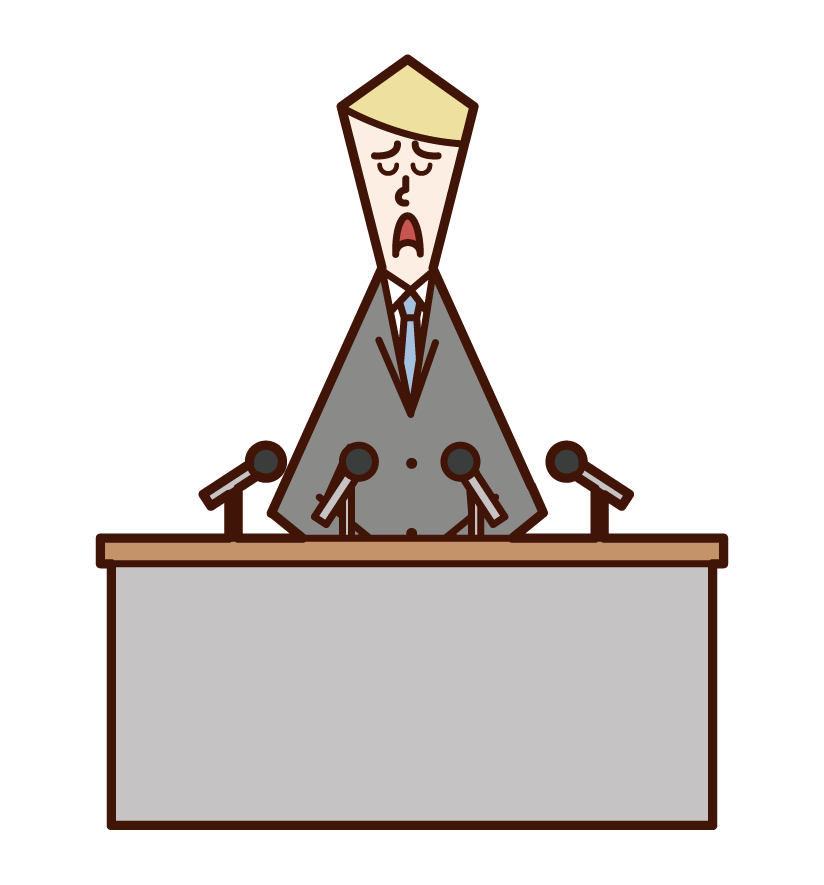 道歉會議的人(男性)的插圖