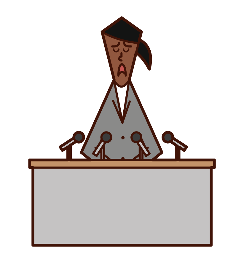 Illustration of a woman ing an apology press conference