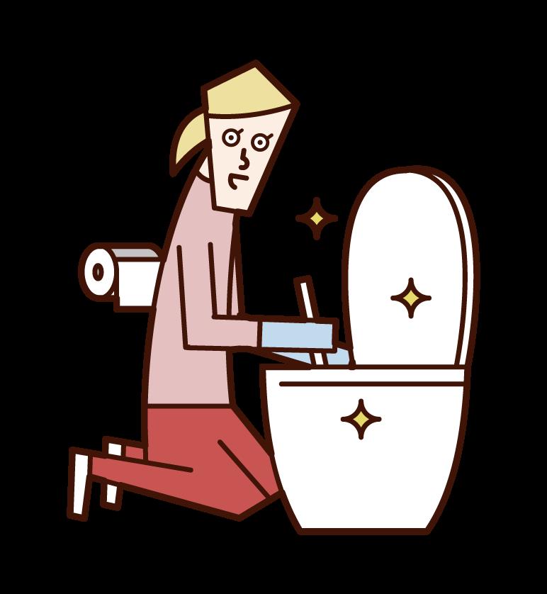 清潔廁所的人(女性)插圖