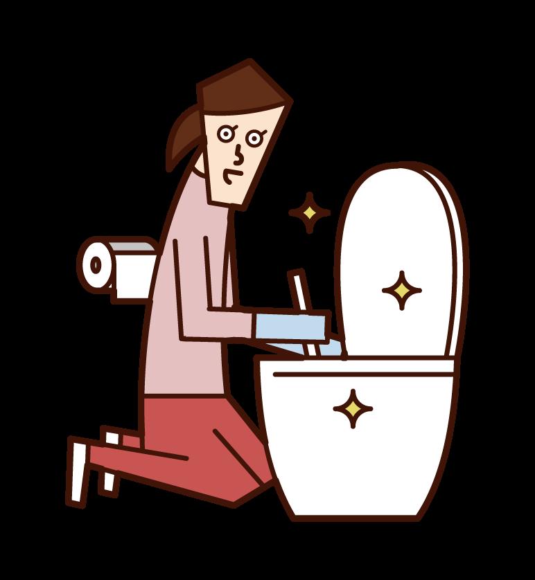 トイレを掃除する人(女性)のイラスト