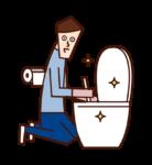 トイレを掃除する人(男性)のイラスト
