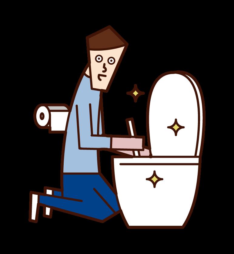 화장실을 청소하는 사람 (남성) 일러스트