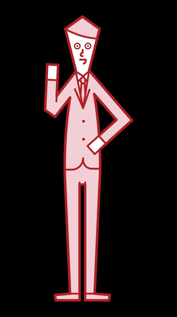 經理和經理(男性)插圖