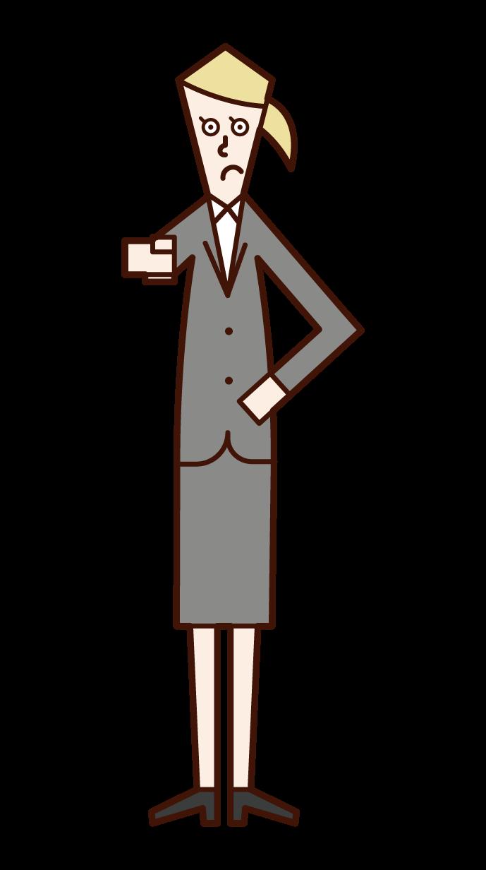 手指注意的人(女性)的插圖