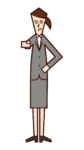 Illustration of a woman pointing her finger and paying attention