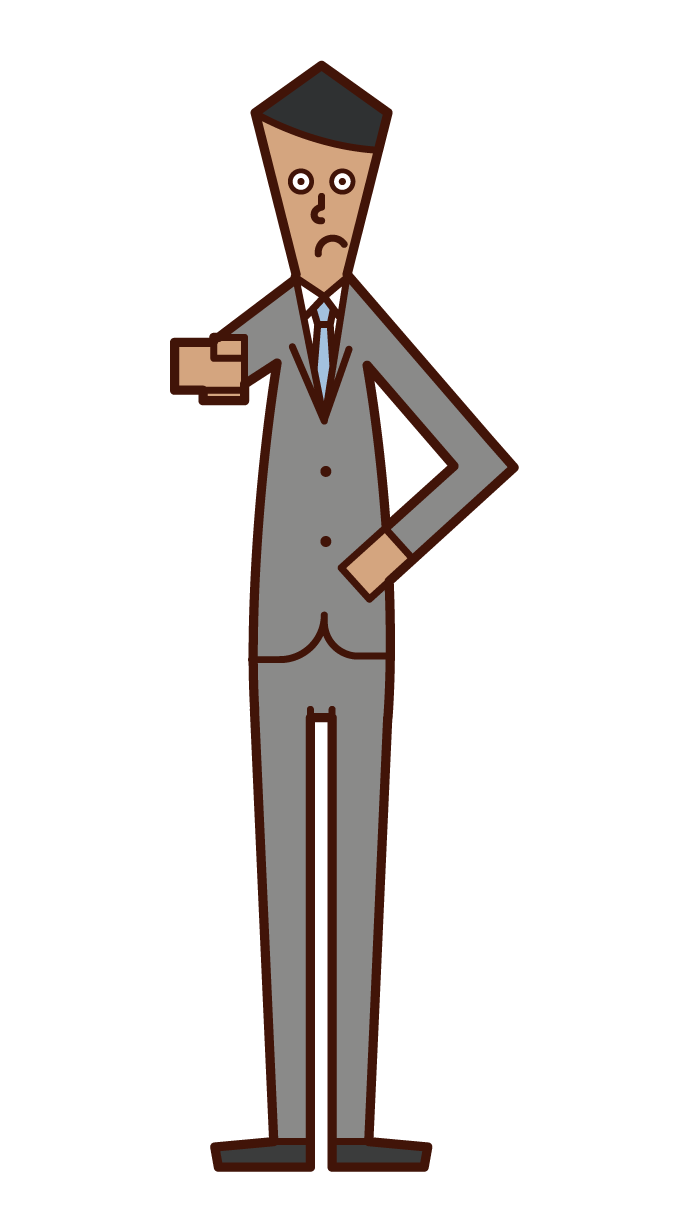 Illustration of a man pointing his finger and paying attention
