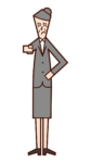 指をさして注意をする人(女性)のイラスト