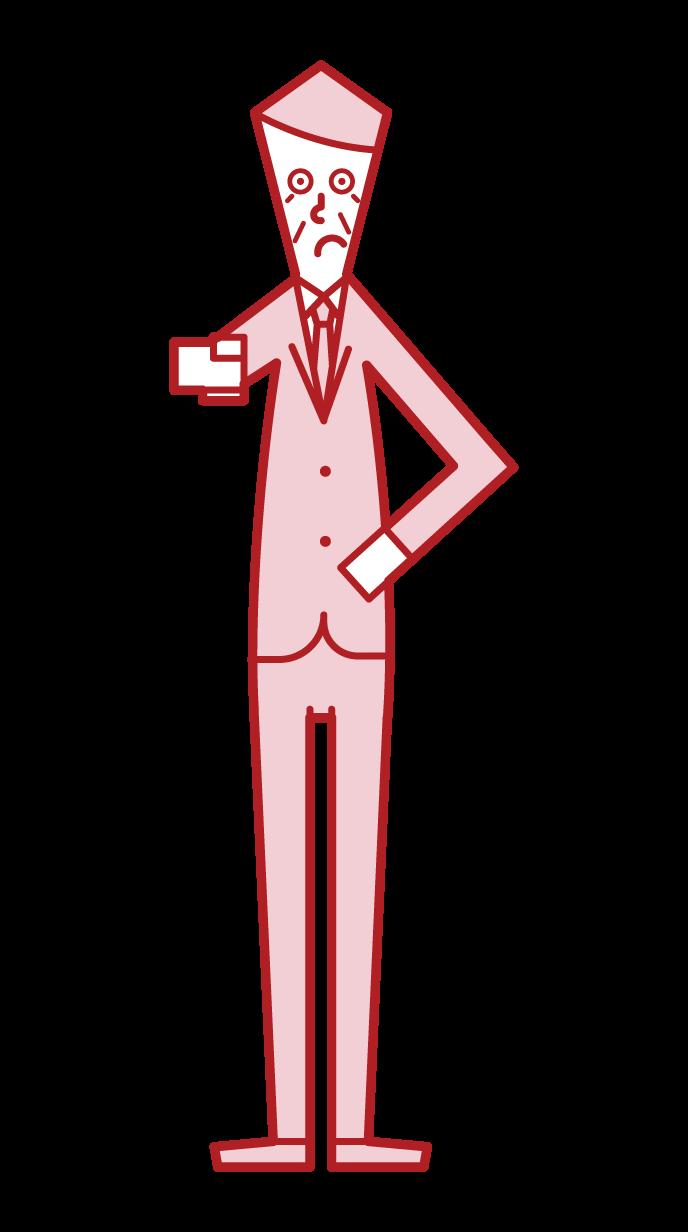 手指注意的人(男性)的插圖