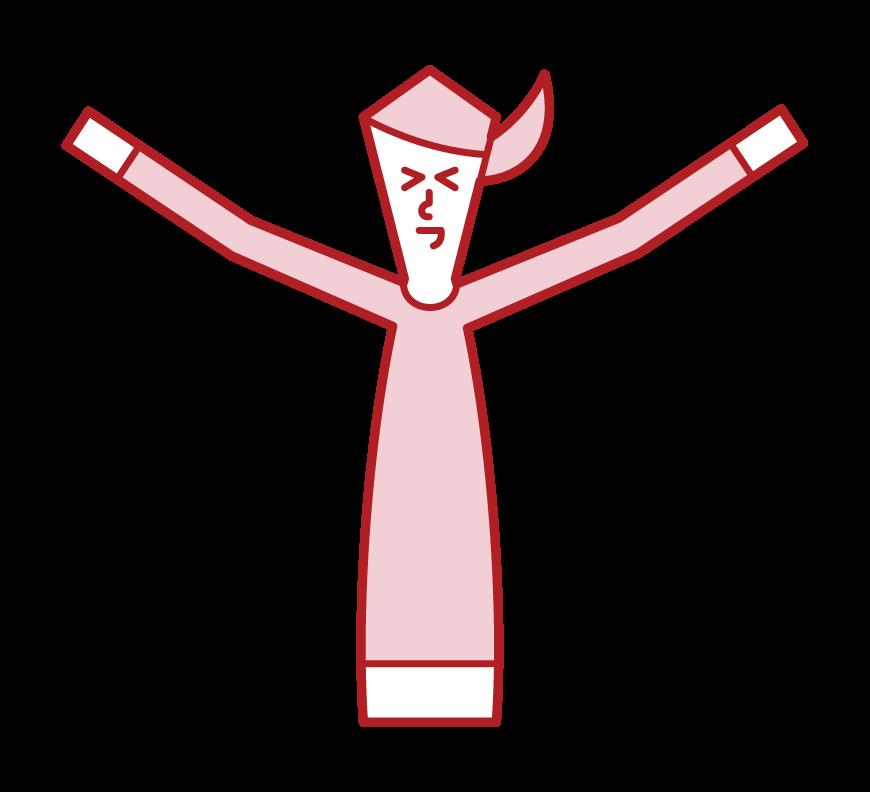 伸展的人和快樂的人(女人)的插圖