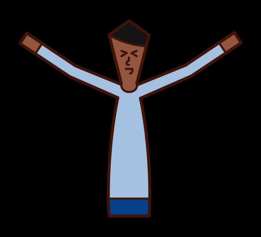 스트레칭과 행복한 사람 (남성)의 그림