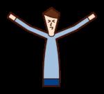 伸展的人和快樂的人(男性)的插圖