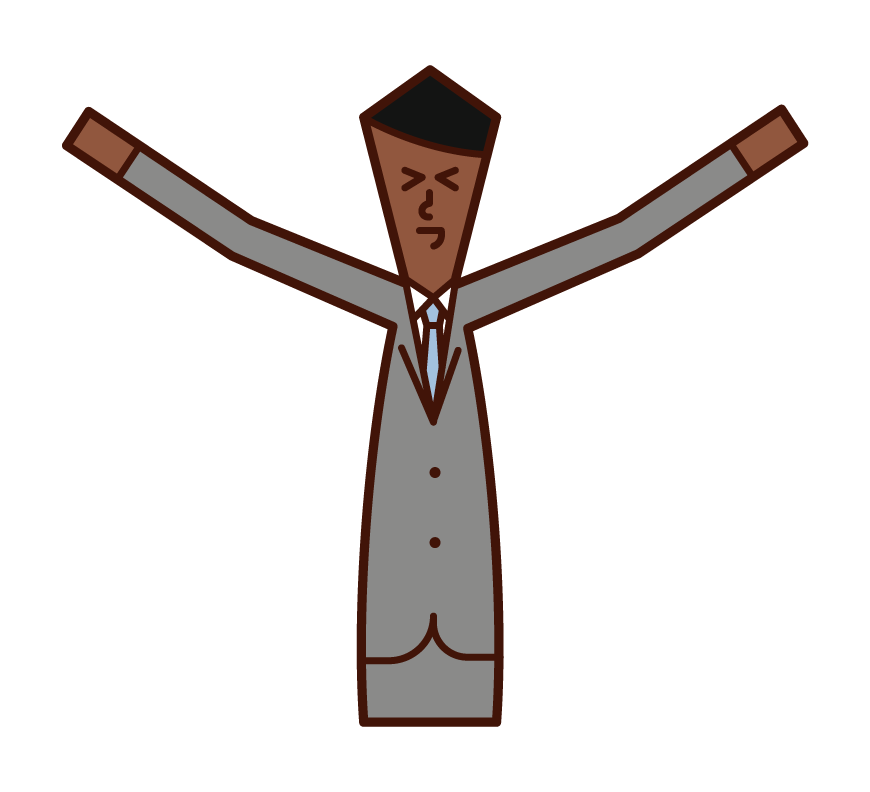 Illustration of a person who stretches and an idly person (man)