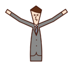 伸びをする人・うららかな人(男性)のイラスト