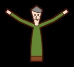 伸びをする人・うららかな人(おじいさん)のイラスト