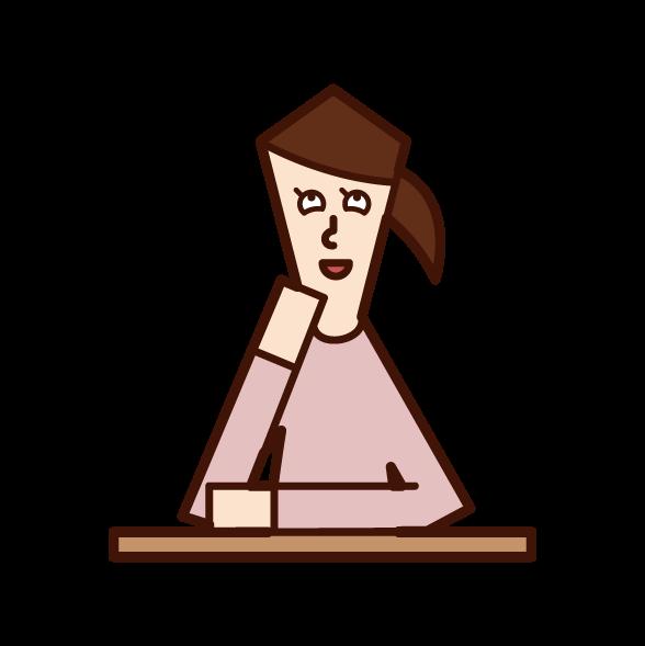 うっとりする人(女性)のイラスト