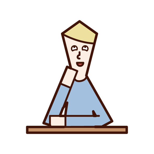 Illustration of a dingy person (man)