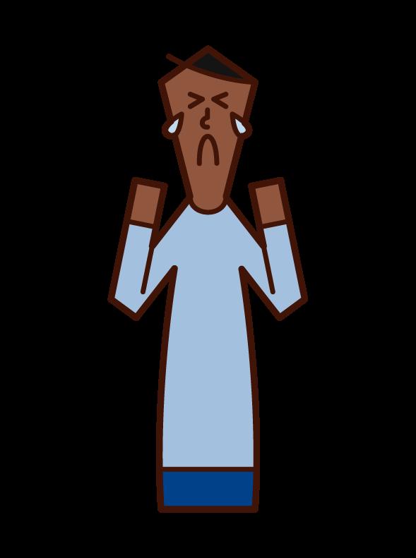 悔しい 悲しい 悲痛 男性 のイラスト フリーイラスト素材 Kukukeke ククケケ