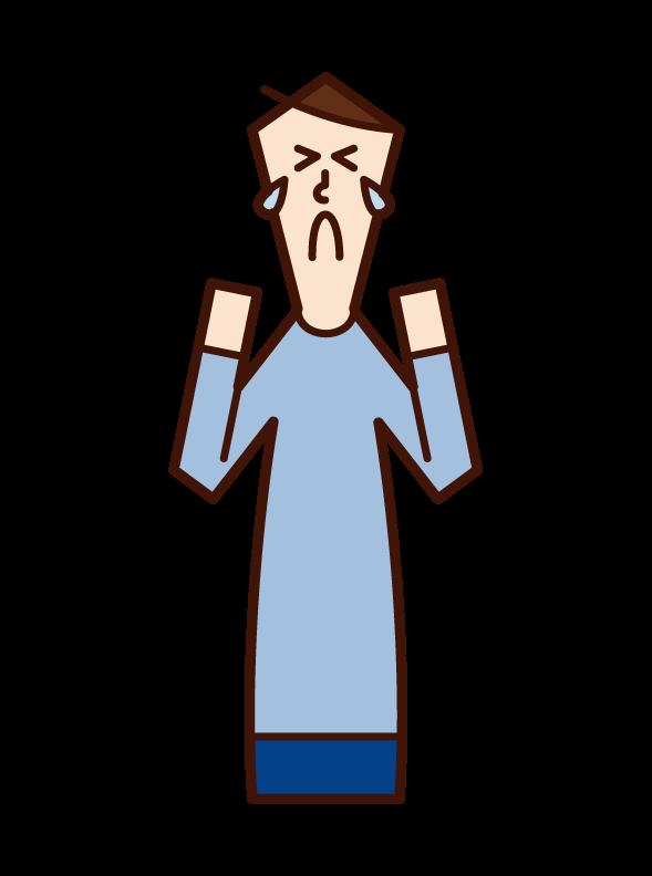 悔しい・悲しい・悲痛(男性)のイラスト