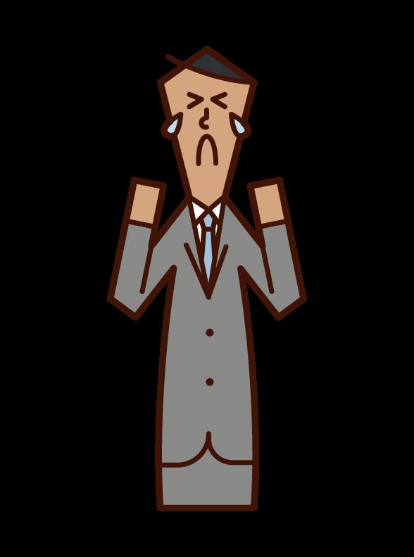 Illustration of regret, sadness, and heartbreak (man)
