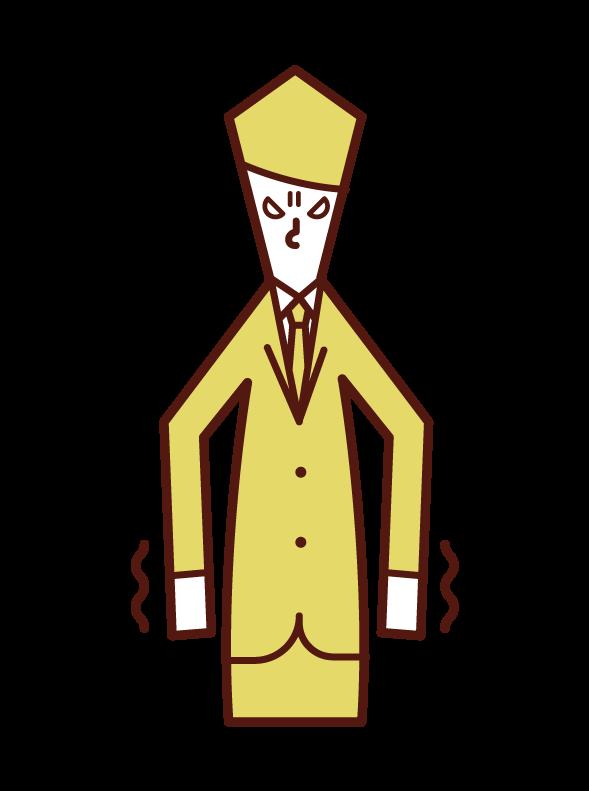 憤怒中顫抖的人(男性)的插圖