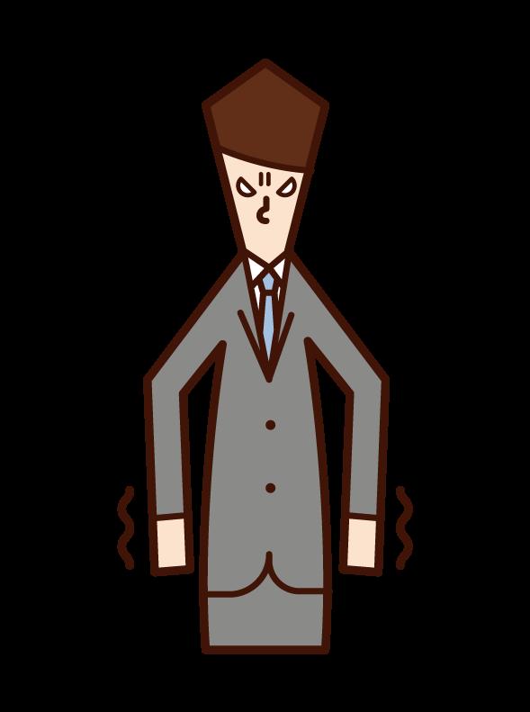 怒りに震える人(男性)のイラスト