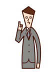 Illustration of a person (man) who issues ok permission