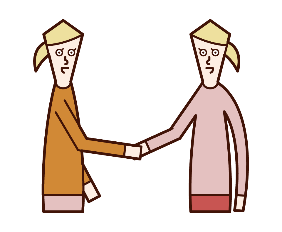 Illustration of a person shaking hands and trusting relationship (woman)