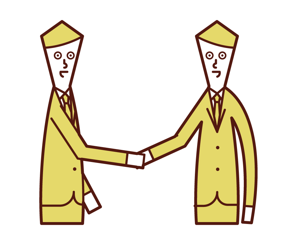 Illustration of a person shaking hands and trusting relationship (man)