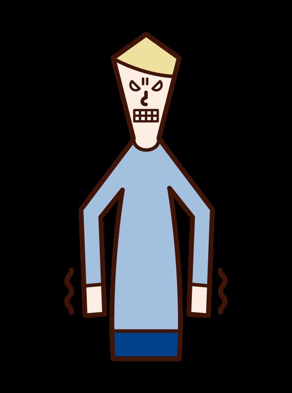 令人沮喪或厭惡的人(男性)的插圖