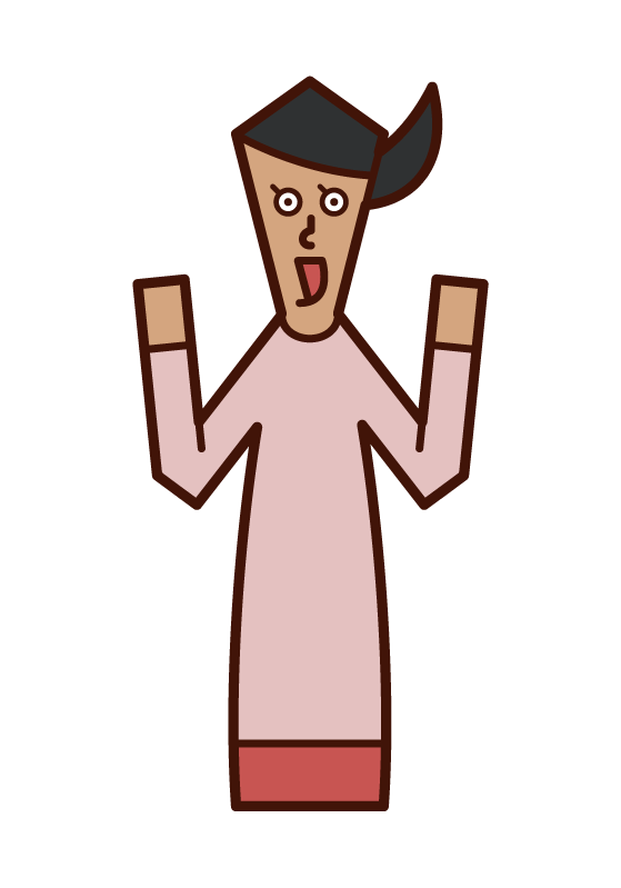 感嘆、驚訝或快樂的人(女性)的插圖