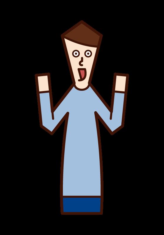 感歎、驚訝、快樂、快樂的人(男性)的插圖