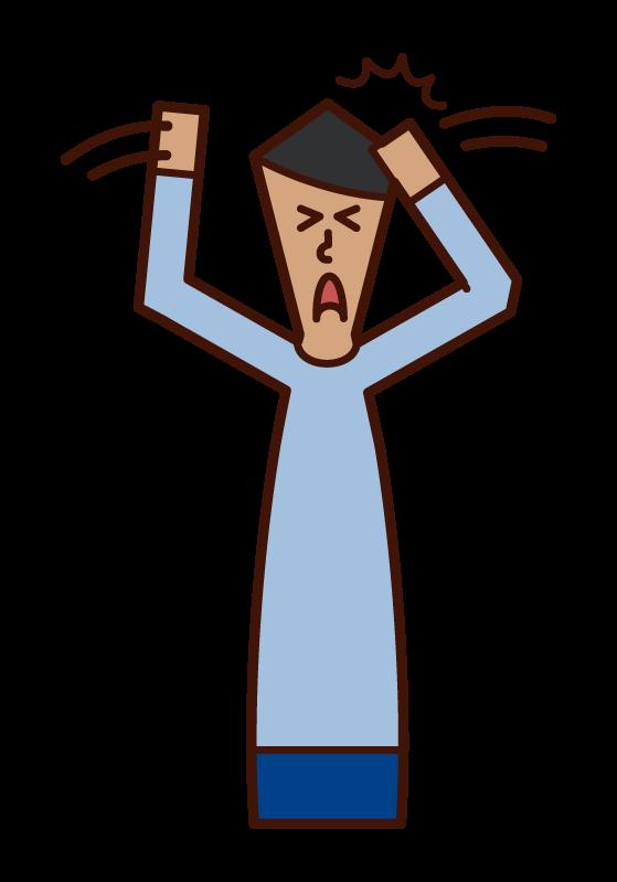 Illustration of a man hitting his head