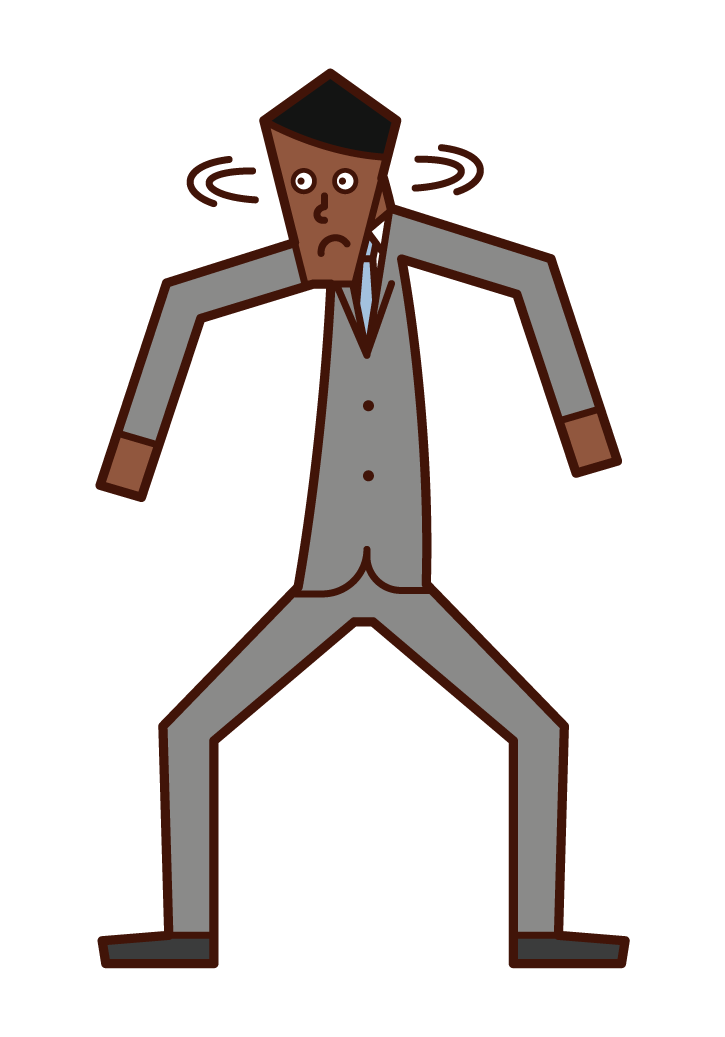 Illustration of a person (man) who is suspicious and wary of behavior