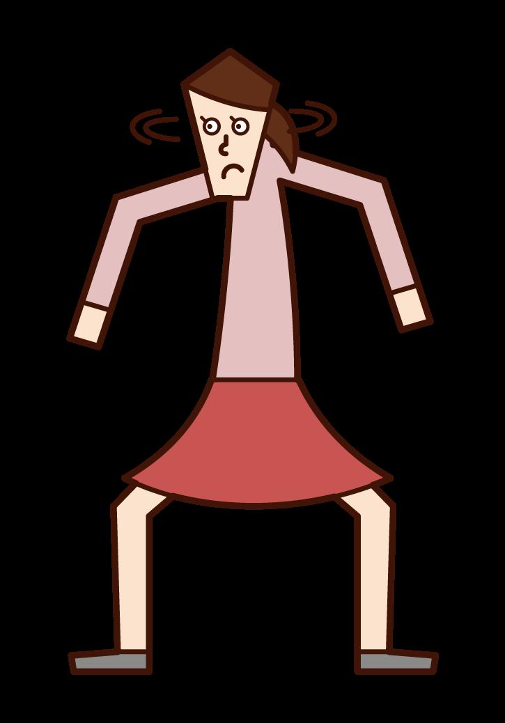 挙動不審・警戒する人(女性)のイラスト
