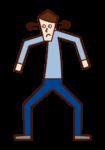 行為可疑和警惕的人(男性)的插圖