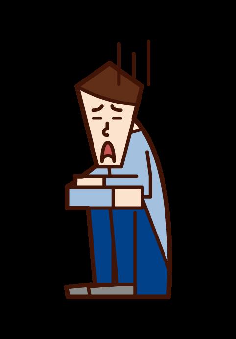 悲観的な人・落ち込む人(男性)のイラスト
