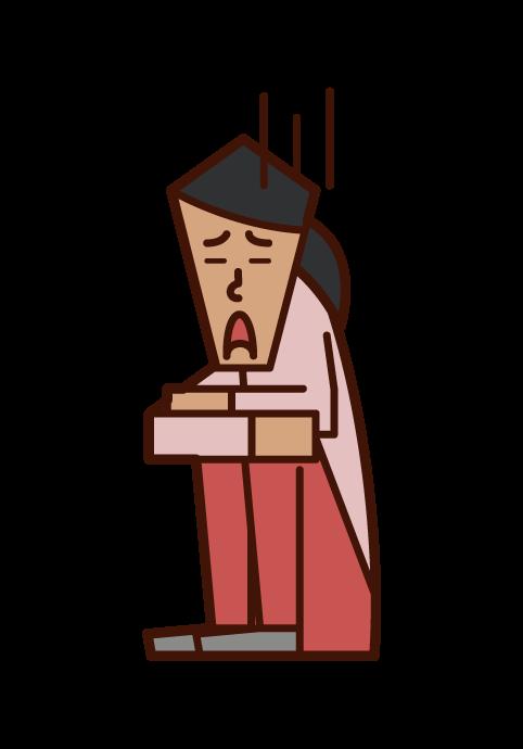 비관적이고 우울한 사람 (여성)의 그림