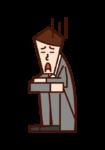 悲觀和沮喪的人(男性)的插圖
