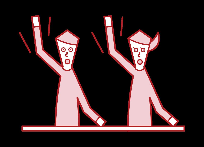 積極的に手をあげる人のイラスト