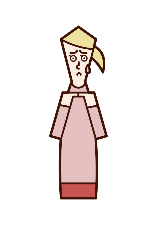 Illustration of a reluctant person, a person (woman) who is mojimazi
