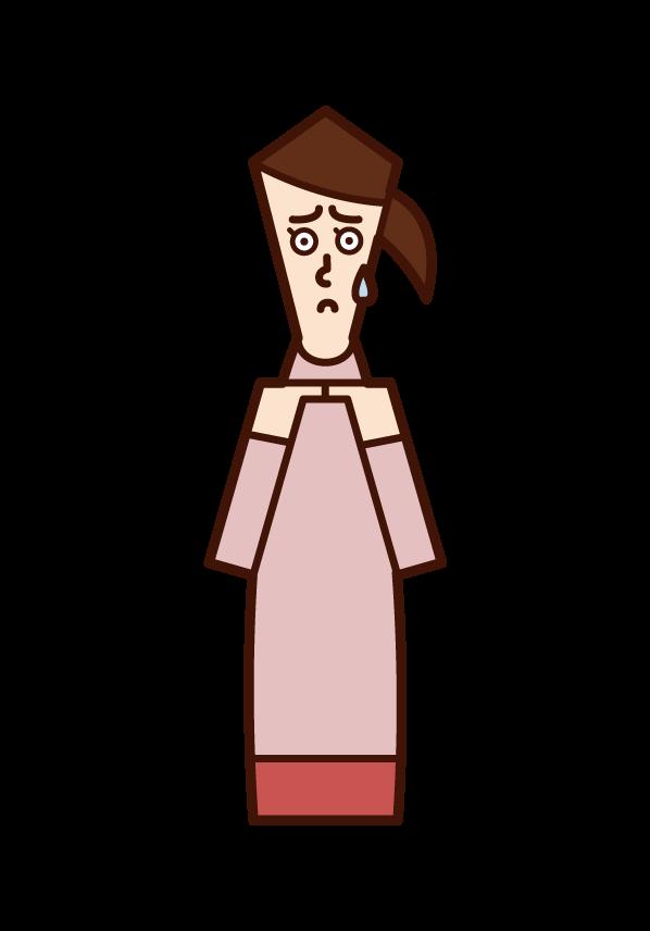 消極的な人・モジモジする人(女性)のイラスト