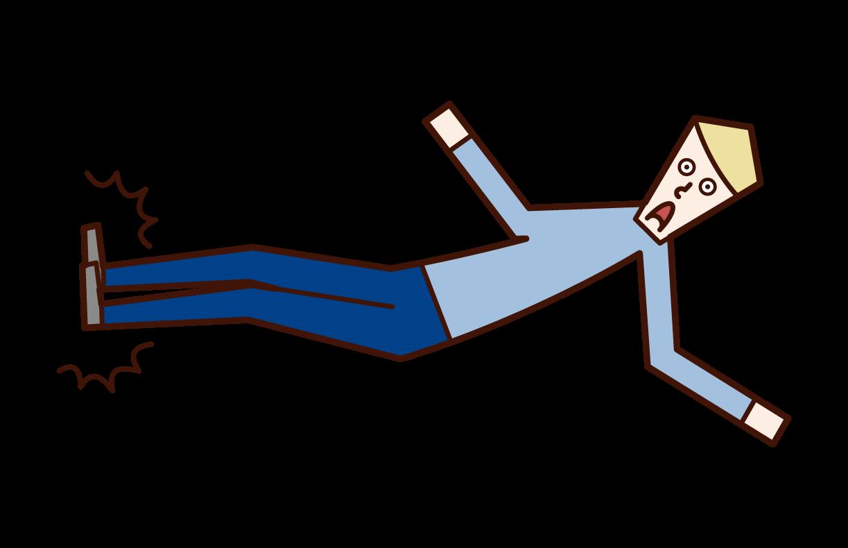 ドロップキックをする人(男性)のイラスト