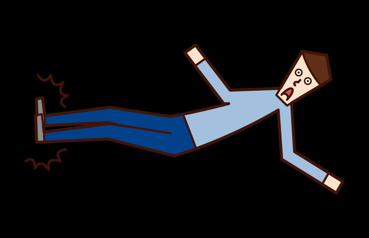 Illustration of a dropkicking person (man)