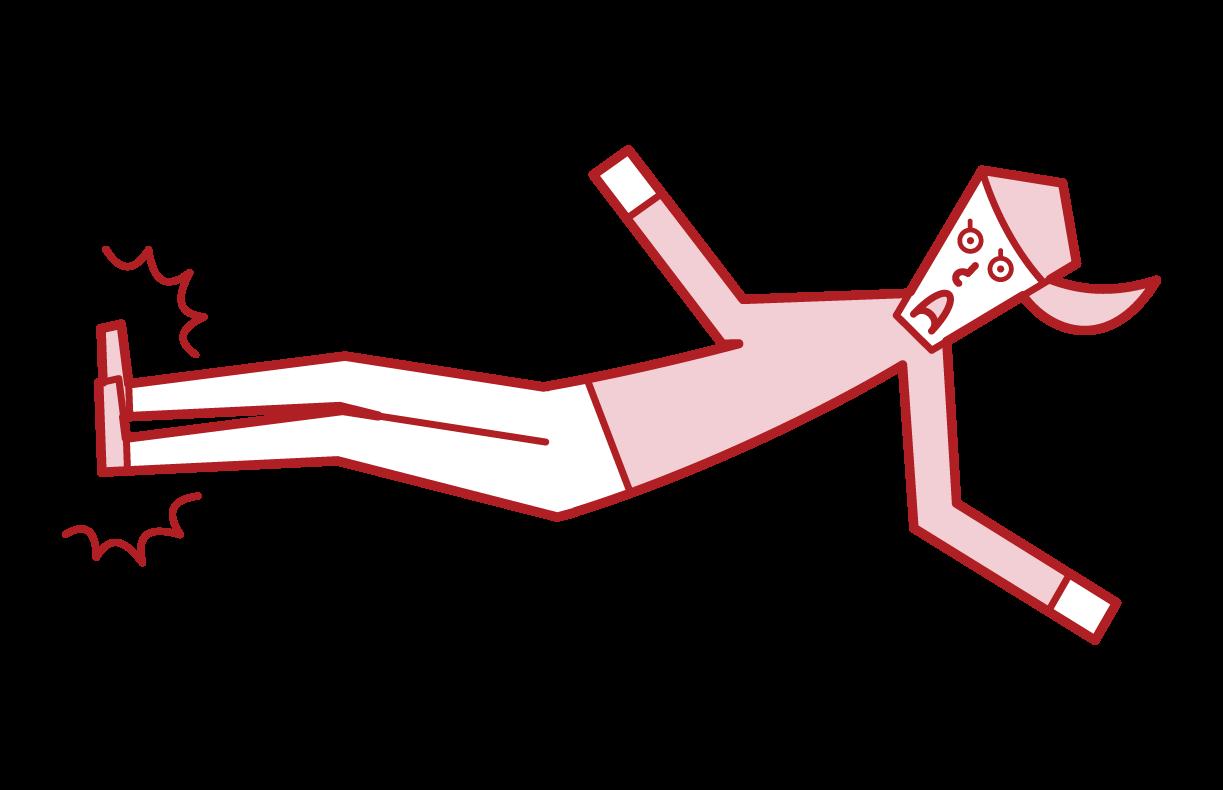 ドロップキックをする人(女性)のイラスト