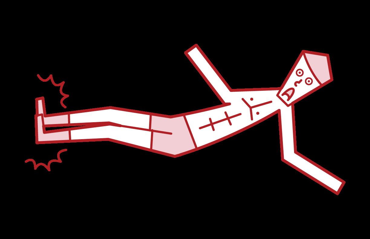 ドロップキックをするプロレスラー(男性)のイラスト